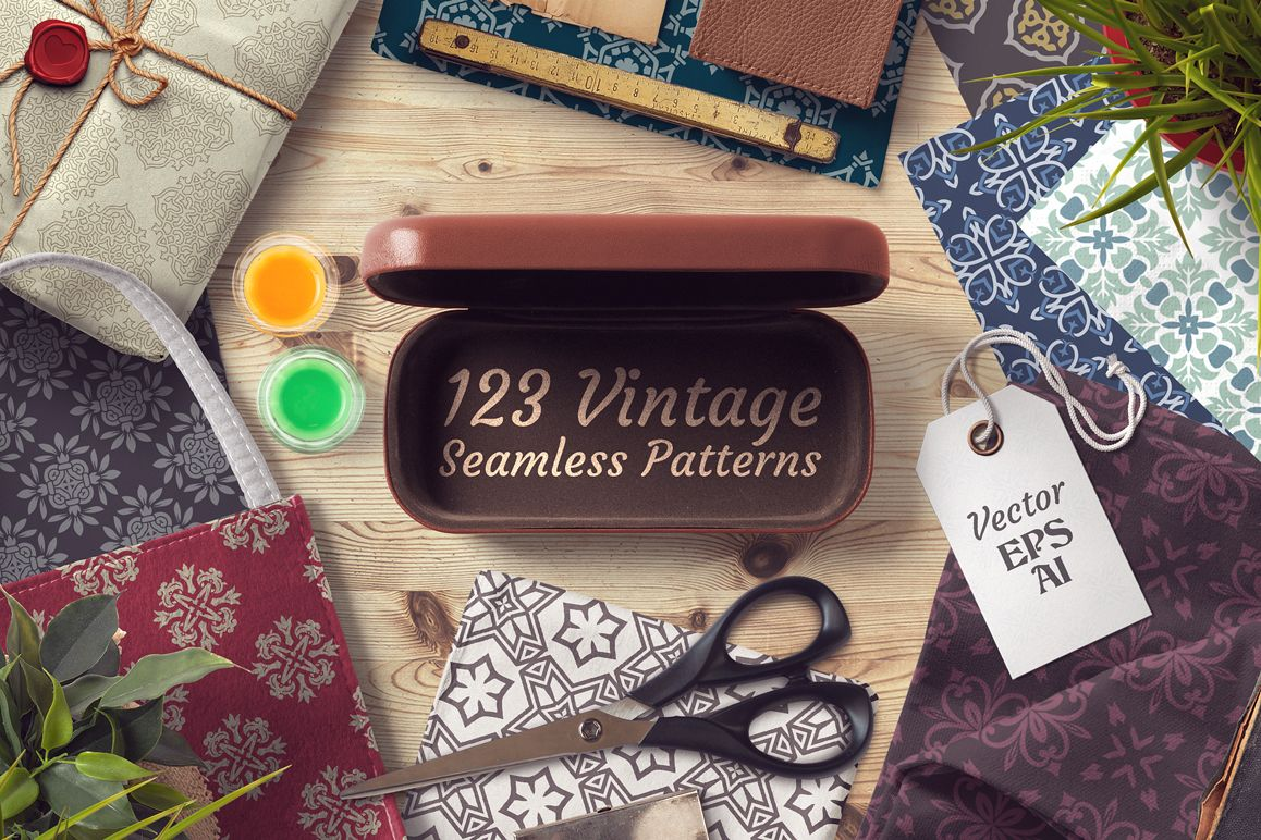 123 Vintage Seamless Vector Pattern
