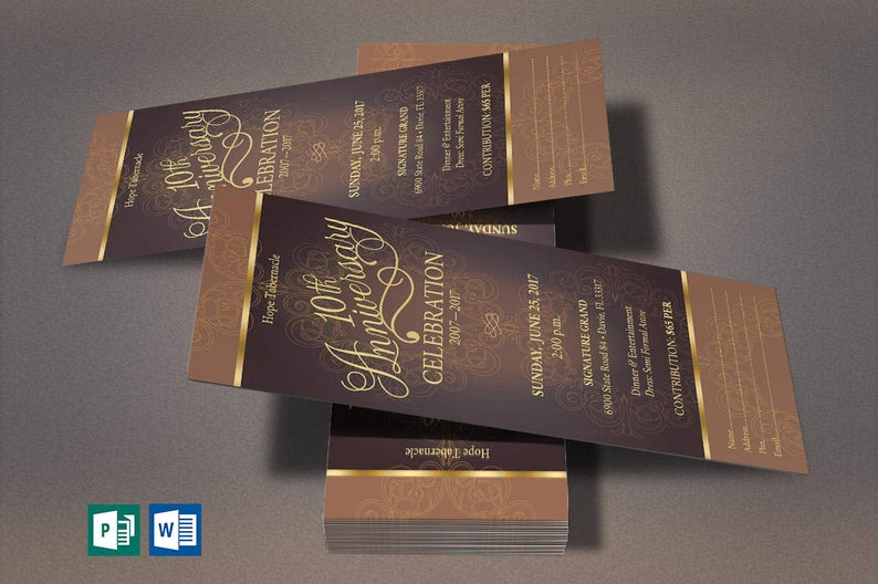 Gold Church Anniversary Word Publisher Ticket