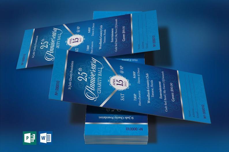 Blue Silver Anniversary Banquet Ticket Template