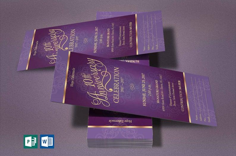 Purple Gold Church Anniversary Word Publisher Ticket