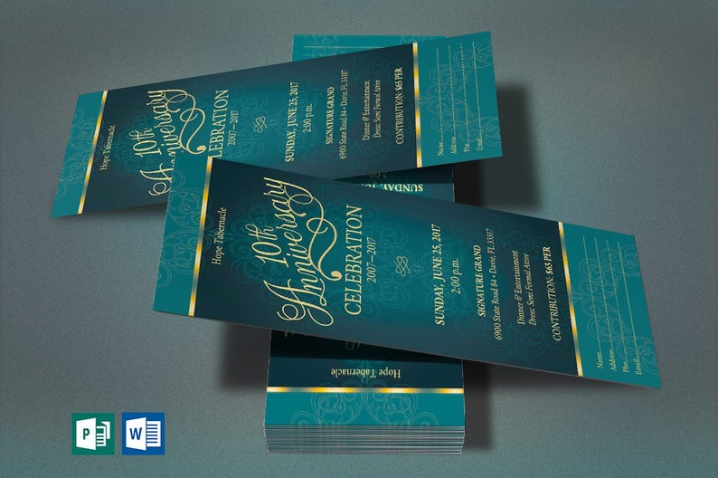 Teal Church Anniversary Word Publisher Ticket