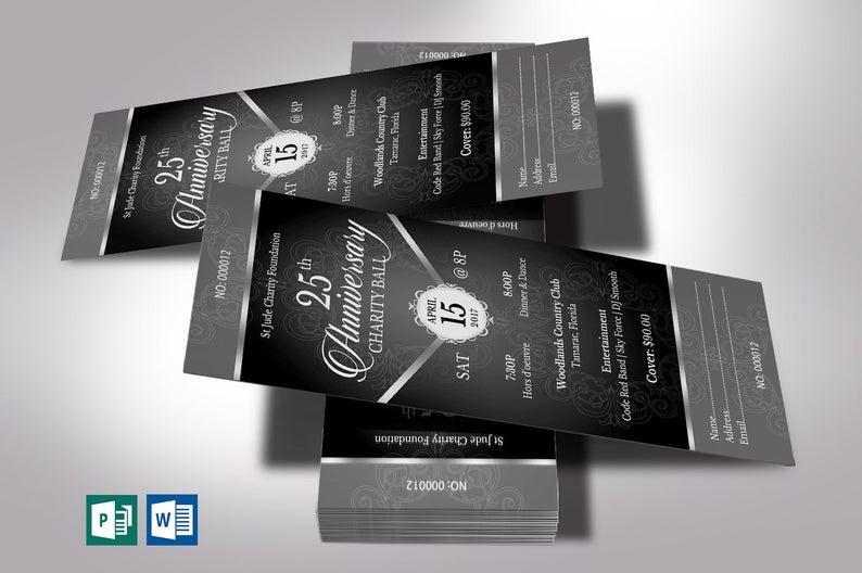 Black Silver Anniversary Banquet Ticket