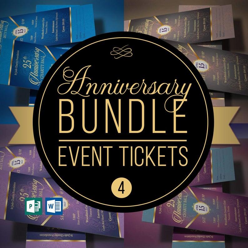 Anniversary Banquet Ticket Template Bundle