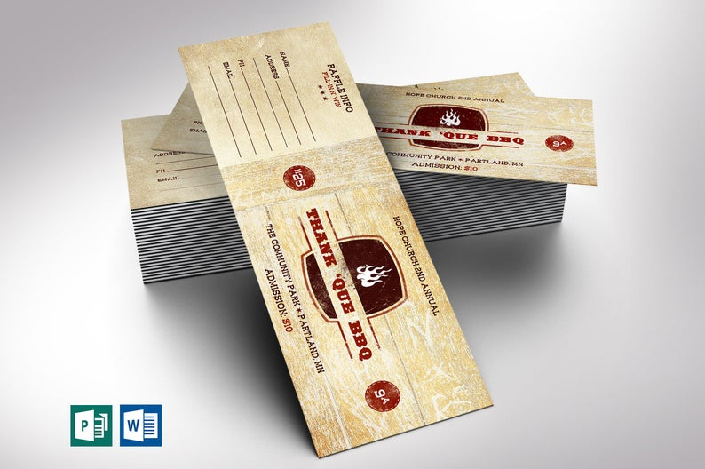 Western Barbecue Ticket template