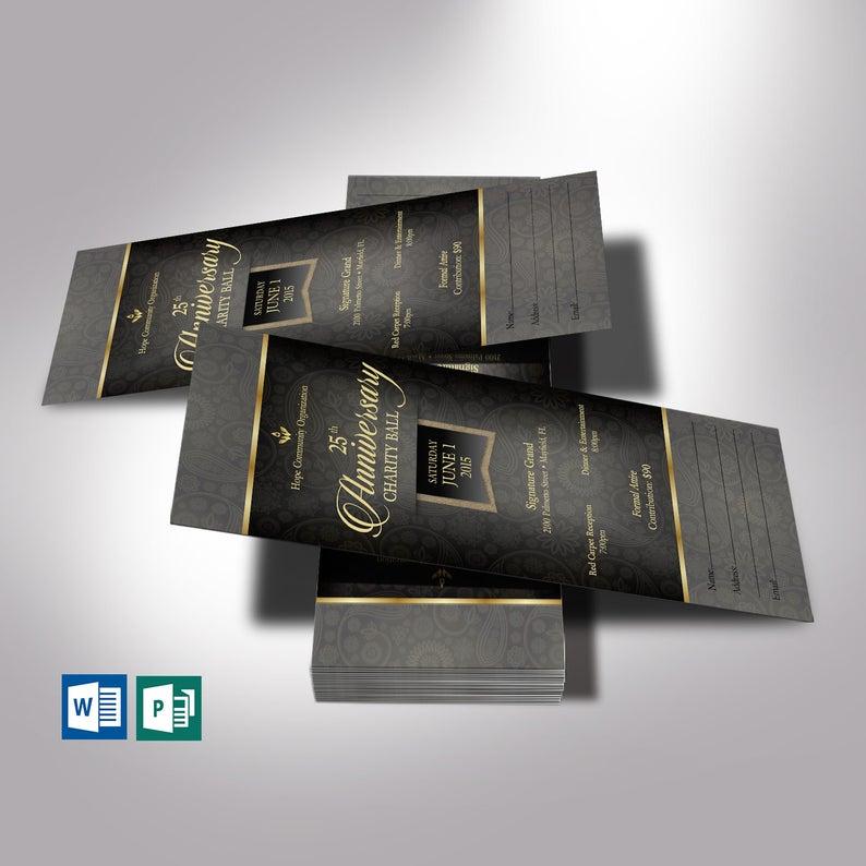 Black Banquet Ticket Word Publisher