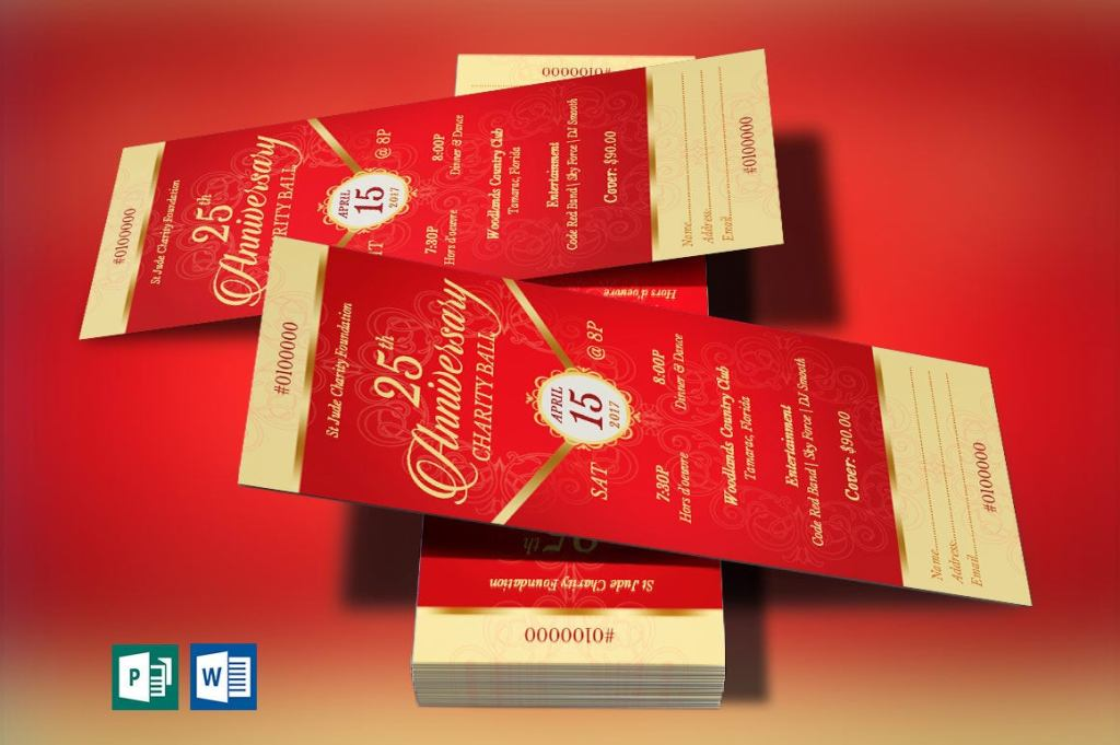 Red Gold Anniversary Banquet Ticket Word Publisher Template