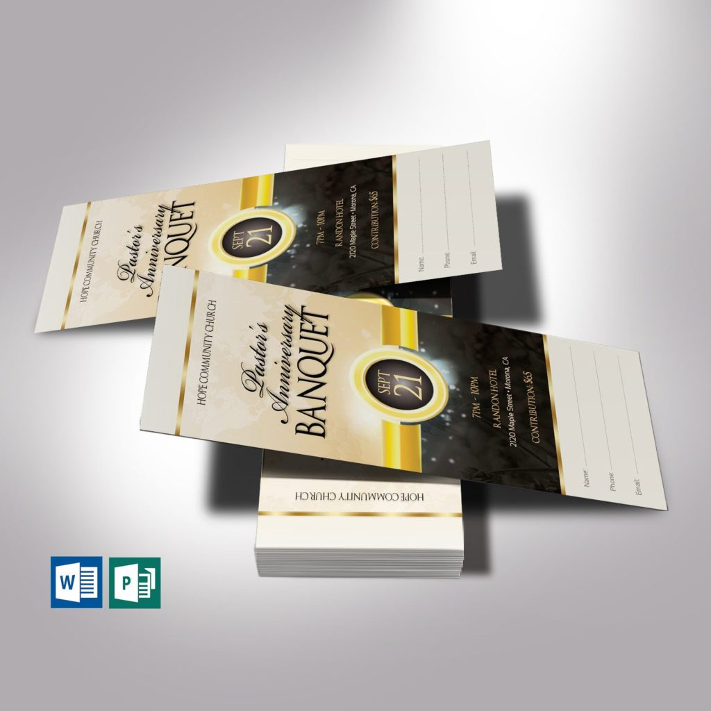 Black Gold Clergy Banquet Ticket Template