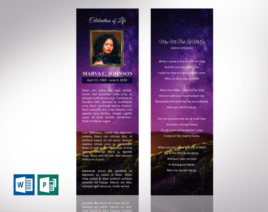 Vineyard Funeral Bookmark Word Publisher Template