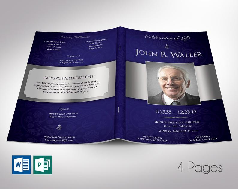 Dignity Funeral Program Word Publisher Template - 4 Page