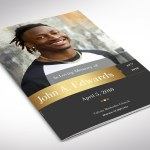 Remember Gold Funeral Program Word Publisher Small Template