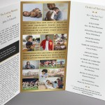 Remember Gold Funeral Program Tri-fold Word Publisher Templat