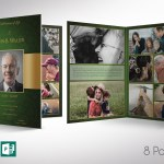 Green Gold Funeral Program Word Publisher Tabloid Template