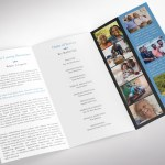 Remember Blue Legal Trifold Funeral Program Word Publisher Template