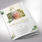 Tropica Trifold Funeral Program Word Publisher Template