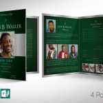 Green Silver Regal Tabloid Funeral Program Word Publisher Template