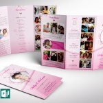 Pink Princess Tabloid Trifold Funeral Program Word Publisher Template