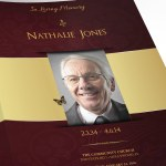 Gold Maroon Tabloid Funeral Program Word Publisher Template