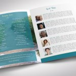 Teal Tabloid Funeral Program Word Publisher Template