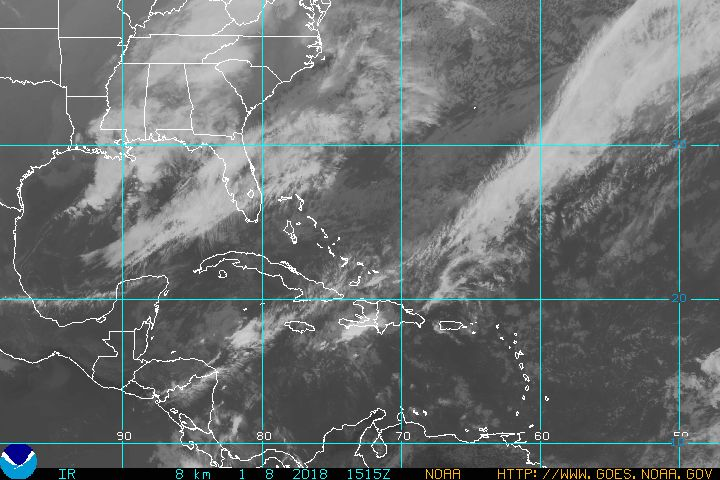 Satellite image showing Tropical Storm Isaac