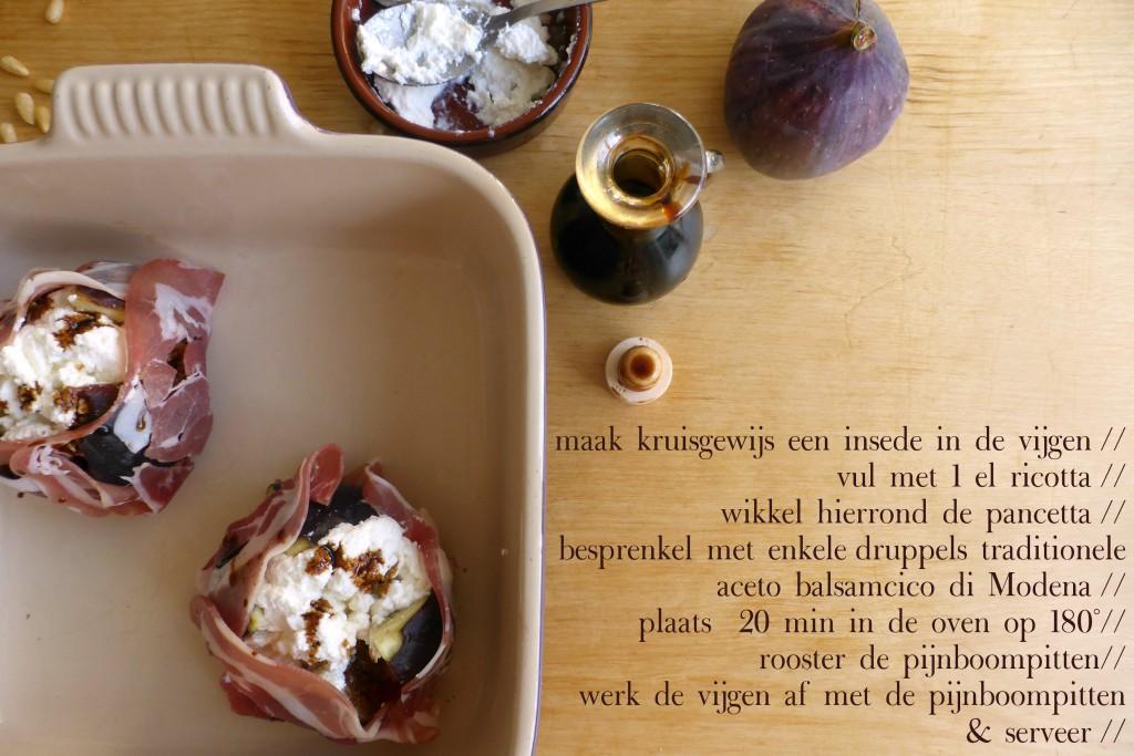 Recept voor goddelijk gevulde vijgen uit modena met balsamico pancetta en pijnboompitten, balsamico