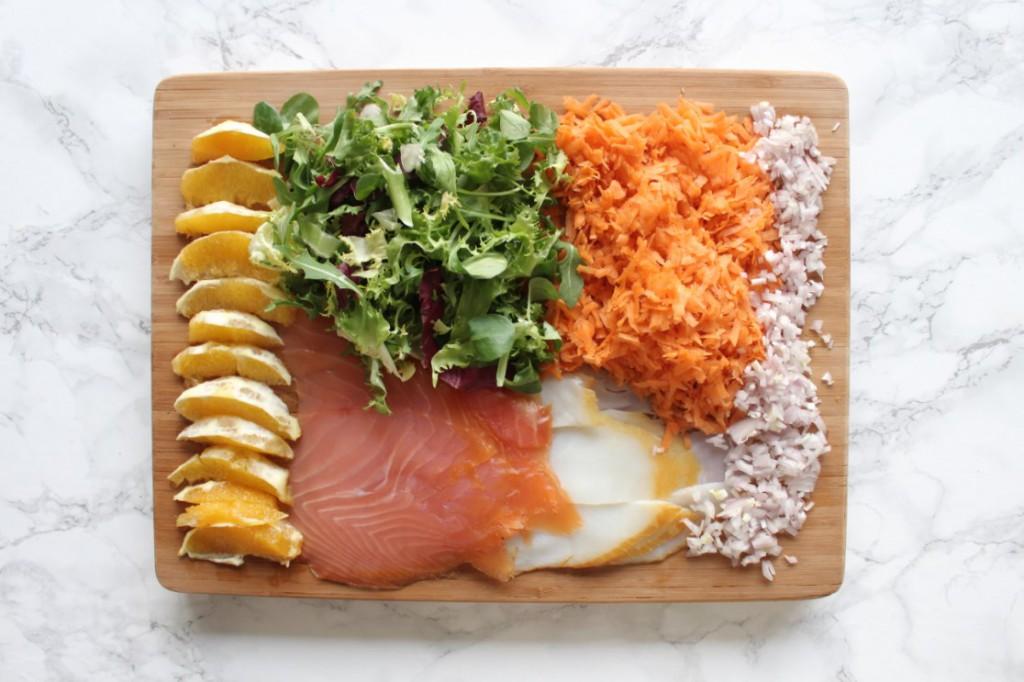 ingredienten spar challenge kook salade met gerookte vis en sinaasappel