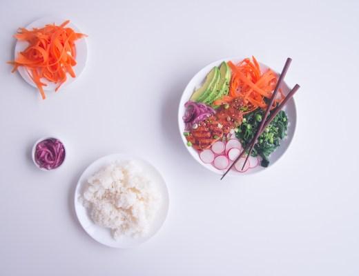 poké bowl goestjes jozefien ryckx siemens gemarineerde miso zalm sushi rijst radijs avocado spinazie