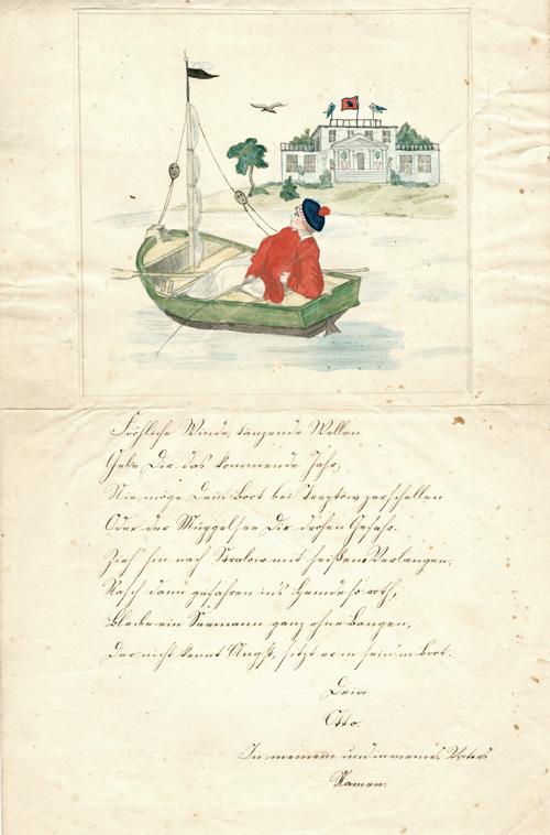 Neujahrsbrief mit Aquarell. Angelnder Knabe im Boot vor einer Villa