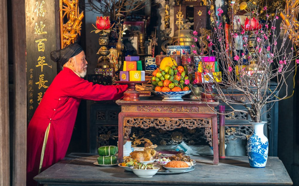 Ancestor worshiping ceremony in Tet Holiday