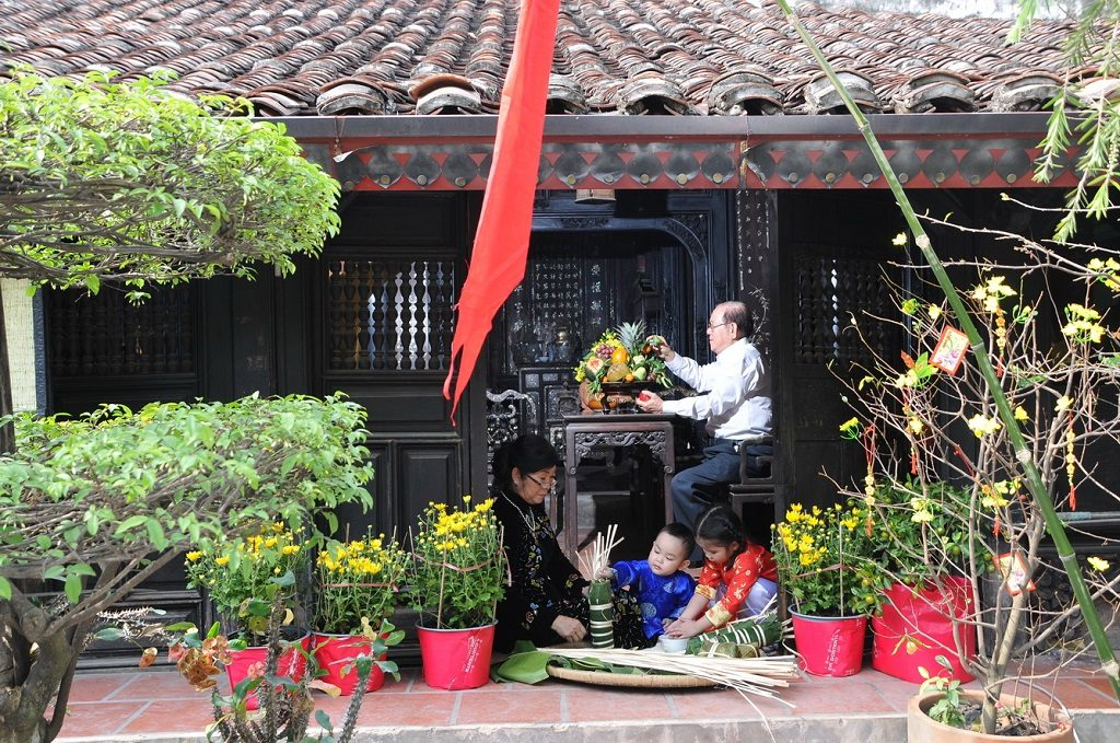House cleaning and decoration on Tet holiday (Vietnamese New Year)