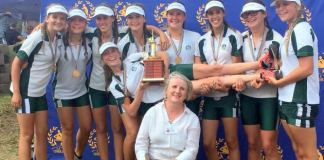 Clarendon rowers recently took a very exciting trip to Roodeplaat Dam in Pretoria to participate in the South African Schools Rowing Championships. The Clarendon girls did the school proud and managed to bring back five medals. Pictured is the U15 Octuple team that won gold, celebrating with coach Kate Godfrey. The team consists of Amy Newey, Morgan Deutschman, Rozanne Kruger, Emily Sparg, Quinta Kieck, Nikita Van Rooi, Eden Krug, Mia Scheepers, Jessica Shadwell