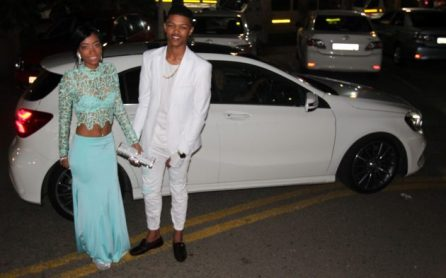 READY TO ROCK: Richelle de Klerk and Edwin Martin step out of their snazzy ride ready to enjoy John Bisseker Secondary School's matric farewell at the Hotel Osner