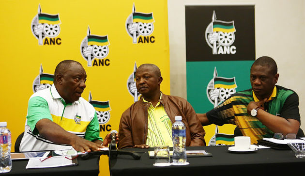 ANC President Cyril Ramaphosa talks to his deputy DD Mabuza and ANC Treasure General Paul Mashatile. File