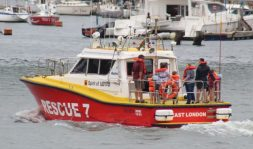 ALL IN: The rescue boat takes visitors on for a tour of East London's harbour