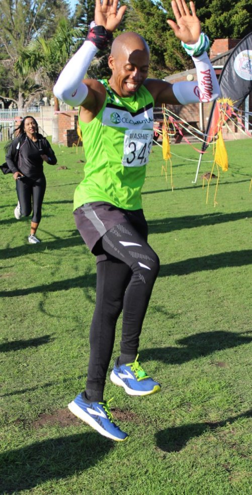 ENERGY TO SPARE: Phikisile Menjenjalo of Old Mutual AC jumps for joy after achieving third place in the Washie 100 Miler