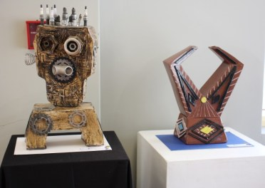 ON DISPLAY: Sculptures by, from left, Selborne College grade 11 pupil Joshua Venter and Stirling High School grade 11 pupil Abonga Ngcaba Picture: MATTHEW FIELD