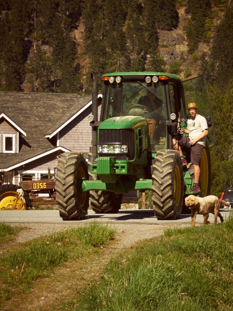 Kevin, Bruce, the tractor and the dog
