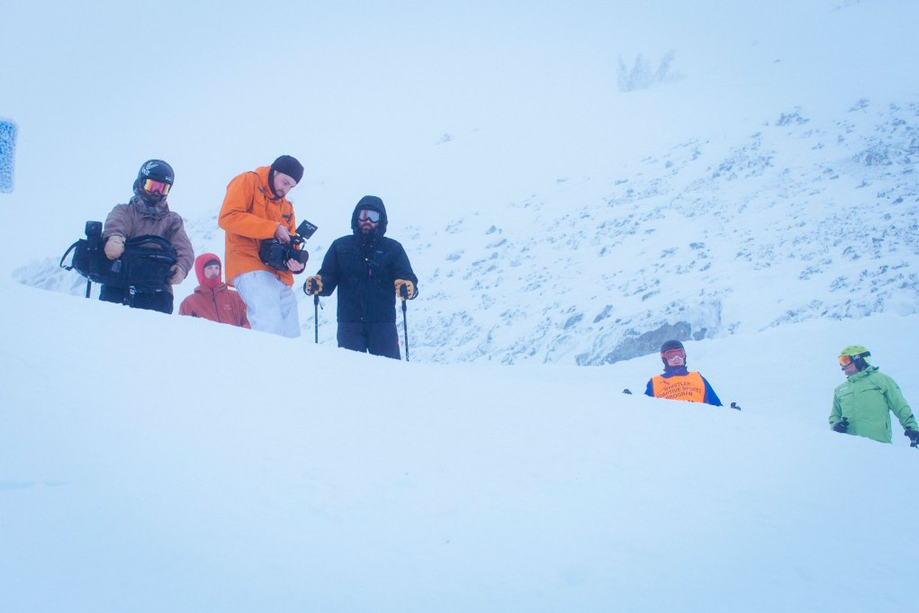 Cold, windy and foggy at the top of Whistler Mountain. DP Liam Mullany and Salazar discuss framing