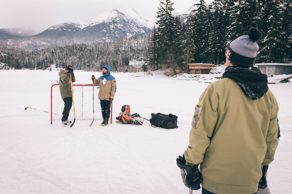 The crew in the lake hockey location of a whistler production