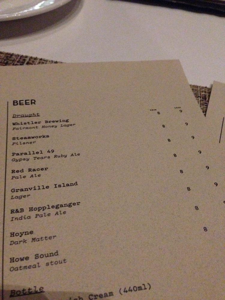 Beer Menu at ARC - photo by Kim Sharpe Jones