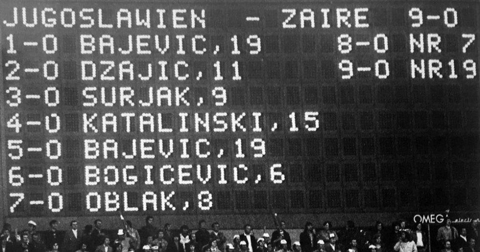 Scorebord Joegoslavie-Zaire 1974