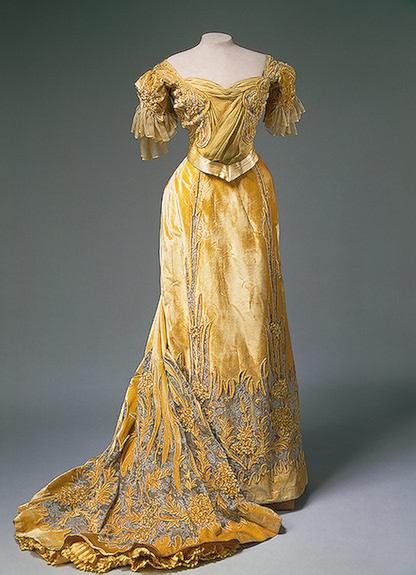 1900s Alexandra's yellow evening dress