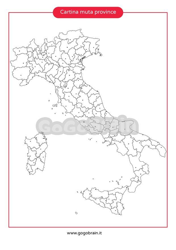 Cartina Muta Italia Province.Carta Muta Delle Province D Italia Gogobrain