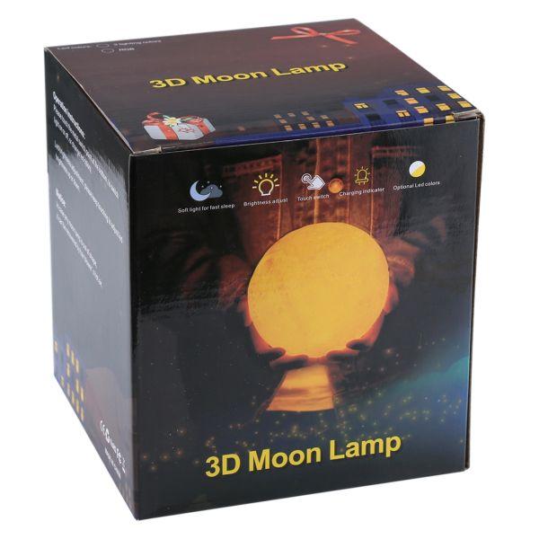 1W 3D Druck Mondlampe USB Charging 3-color mit Holzhalter