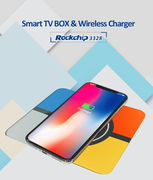 Wireless Charger + 4K HD Smart TV Box with Remote Controller