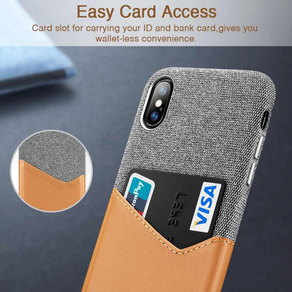 Soft Fabric + PU Leather Case for iPhone X