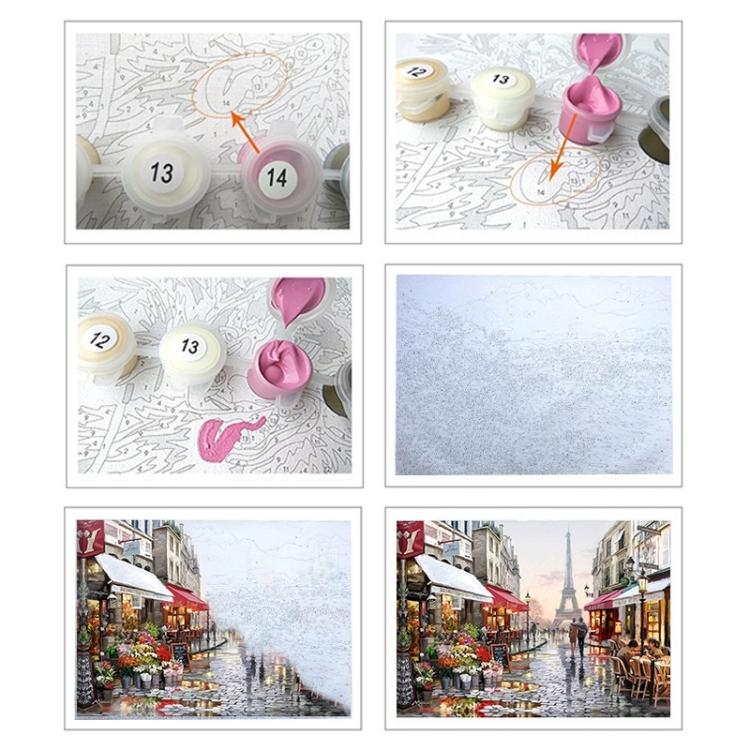 Malen nach Zahlen Paris mit Blumen