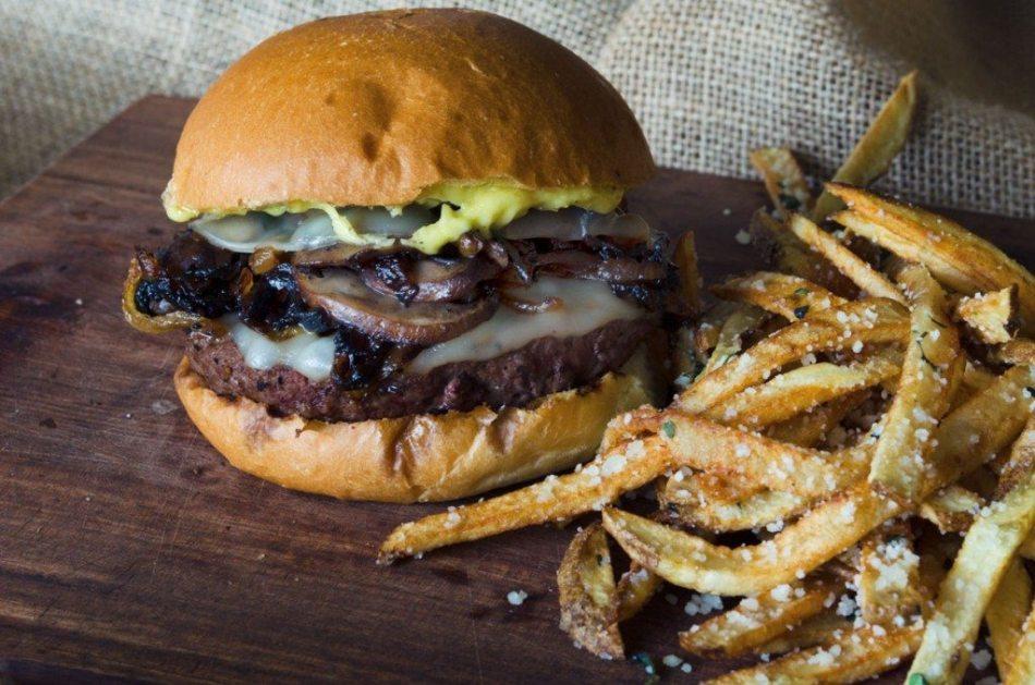 Mushroom Burger with Provolone, Caramelized Onions and Aioli   Go Go Go Gourmet @gogogogourmet