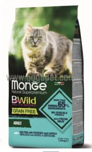 Monge 天然貓糧 無穀物鱈魚薯仔扁豆 成貓配方 貓乾糧 Monge貓糧
