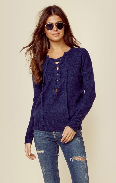 lace up bohemian sweater