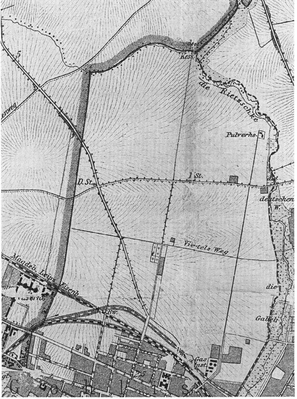 Karte von Neu-Gohlis um 1890. Das Areal nördlich der Bahnschienen war damals unbebaut. Nur der Gohliser Friedhof am Viertelsweg, der 1868 angelegt wurde, ist zu sehen